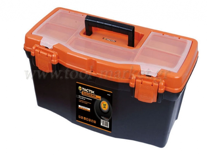 Storage  - Tactix - Plastic toolbox with liftout carry tray & compartments