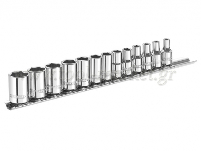 Expert Tools - Set with 13 hexagon sockets on rail settlement - Socket sets(Collections) - Sockets
