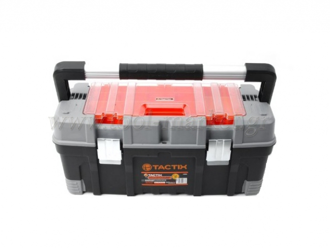 Storage  - Tactix - Plastic Toolbox with Removable Shelf & Cigarette
