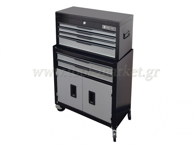 Storage  - Tactix - Set Toolkits Metal & Metal Toolbox (with 4 wheels 6 drawers & 1 cupboard)