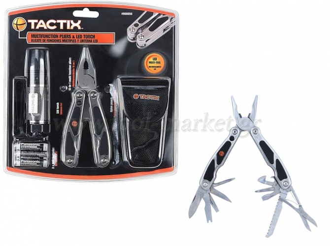Hand Tools - Tactix - Set Pliers Multi Tool (16 in 1) with LED & lens case