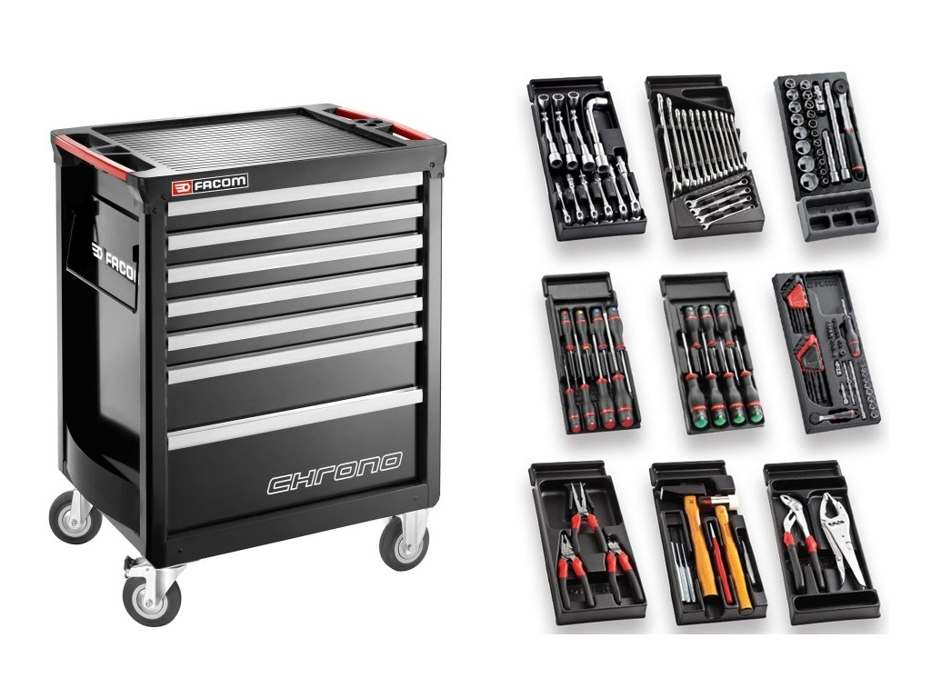 Storage  - Facom - Drawer CHRONO 6 drawers + Collection of 117 tools for cars