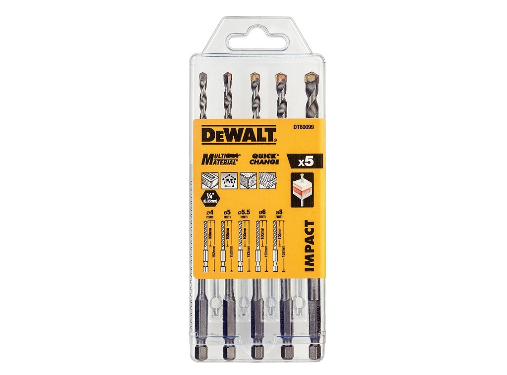 Accessories - Consumables - DeWALT - 5 pieces Multi Material Drill Set