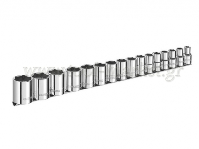 Expert Tools - Set with 16 hexagon sockets on rail settlement - Socket sets(Collections) - Sockets