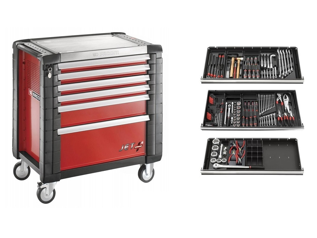 Storage  - Facom - JET + toolbox with 6 drawers + 161 gears collection