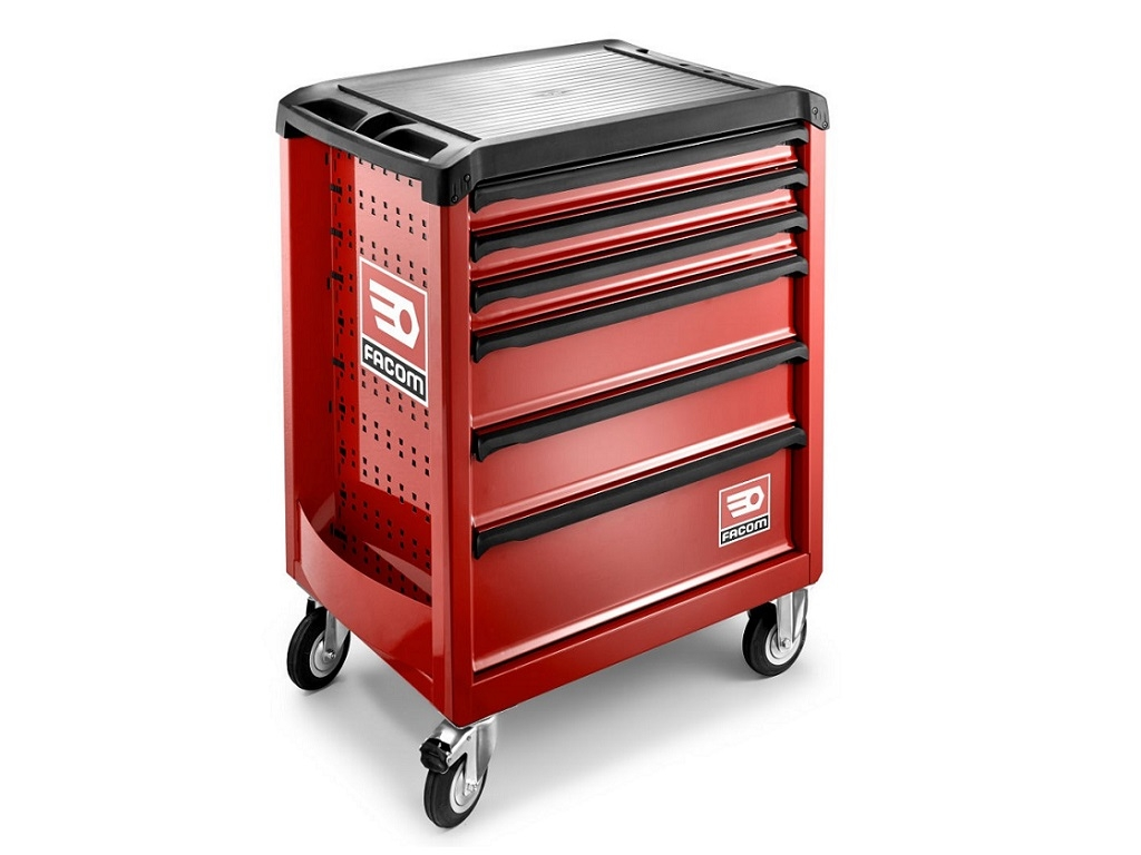 Storage  - Facom - Toolbox with 6 Red Carriage Drawers