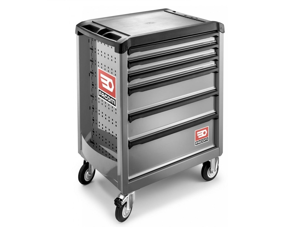 Storage  - Facom - Toolbox with 6 Wheels Gray Trays