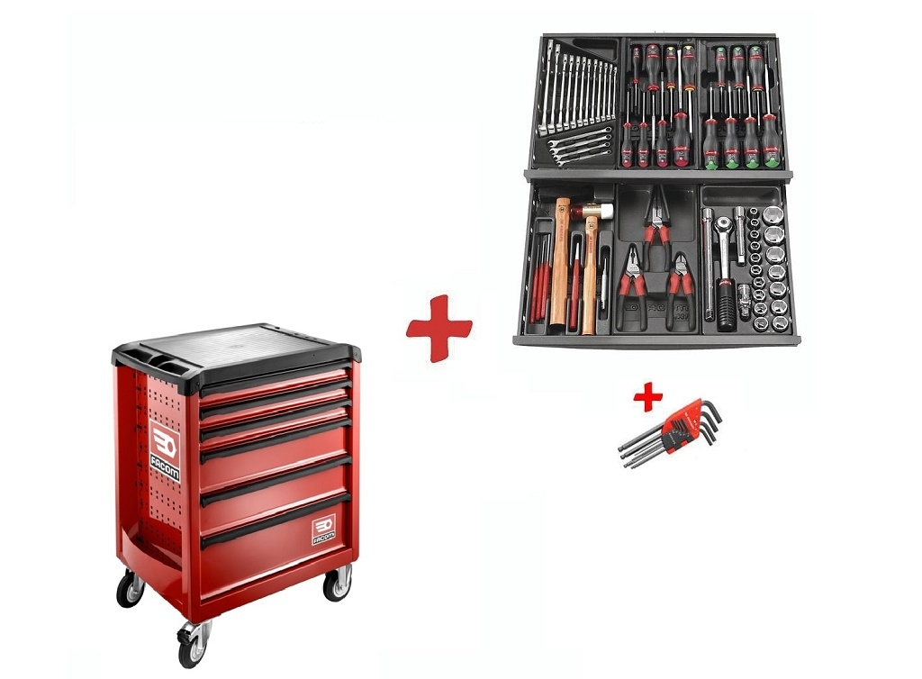 Storage  - Facom - ROLL toolbox with 6 drawers + collection of 73 tools