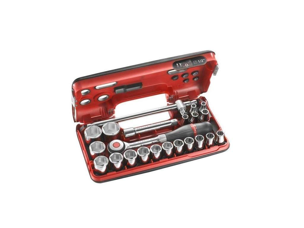 "Hand Tools - Facom - Ratchet handle with 1/2 ""ratchet handle and hex nuts (22 pieces)"