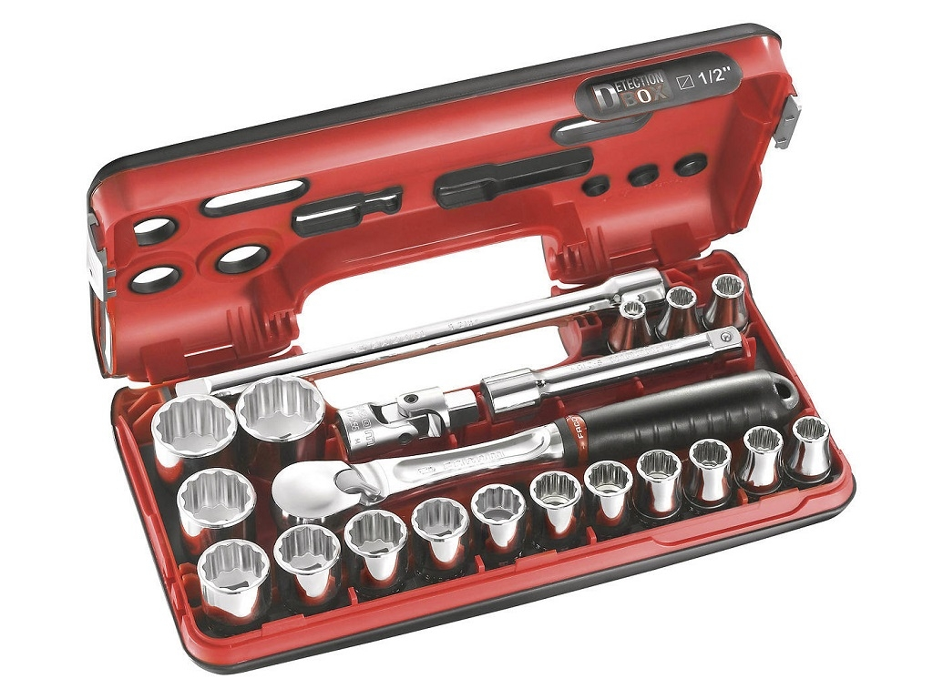"Hand Tools - Facom - Casket DBOX 1/2 ""closed-type ratchet, sockets & accessories 12gon"