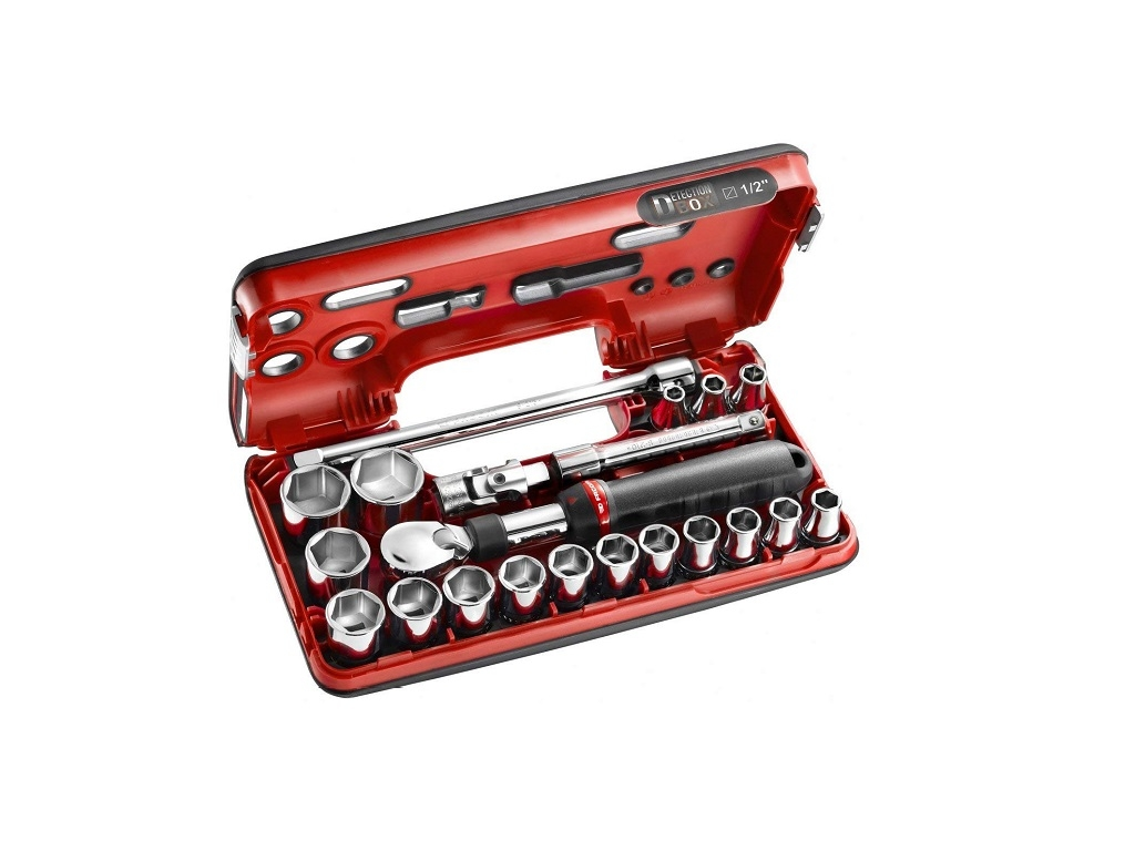Hand Tools - Facom - 1/2 'Ratchet Case with Expandable Handle and Hexagon Nuts (21 Pieces)