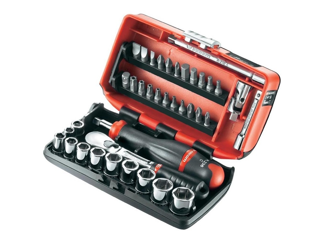 Facom - Set with sockets and bits 1/4 '' 6gon - Socket sets(Collections) - Sockets